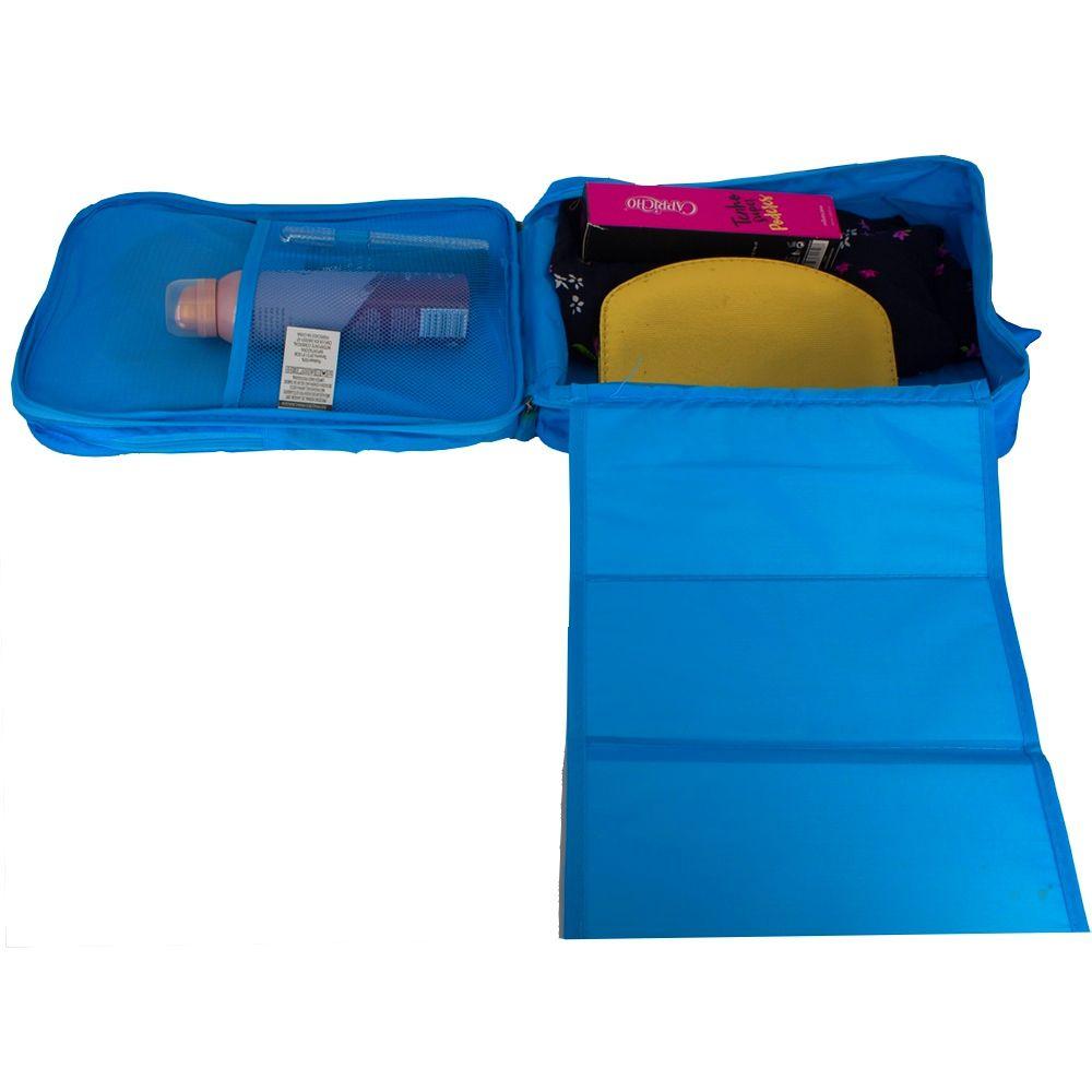 Necessaire Portátil para Viagem 03 Divisórias - Azul Claro  - Shop Ud