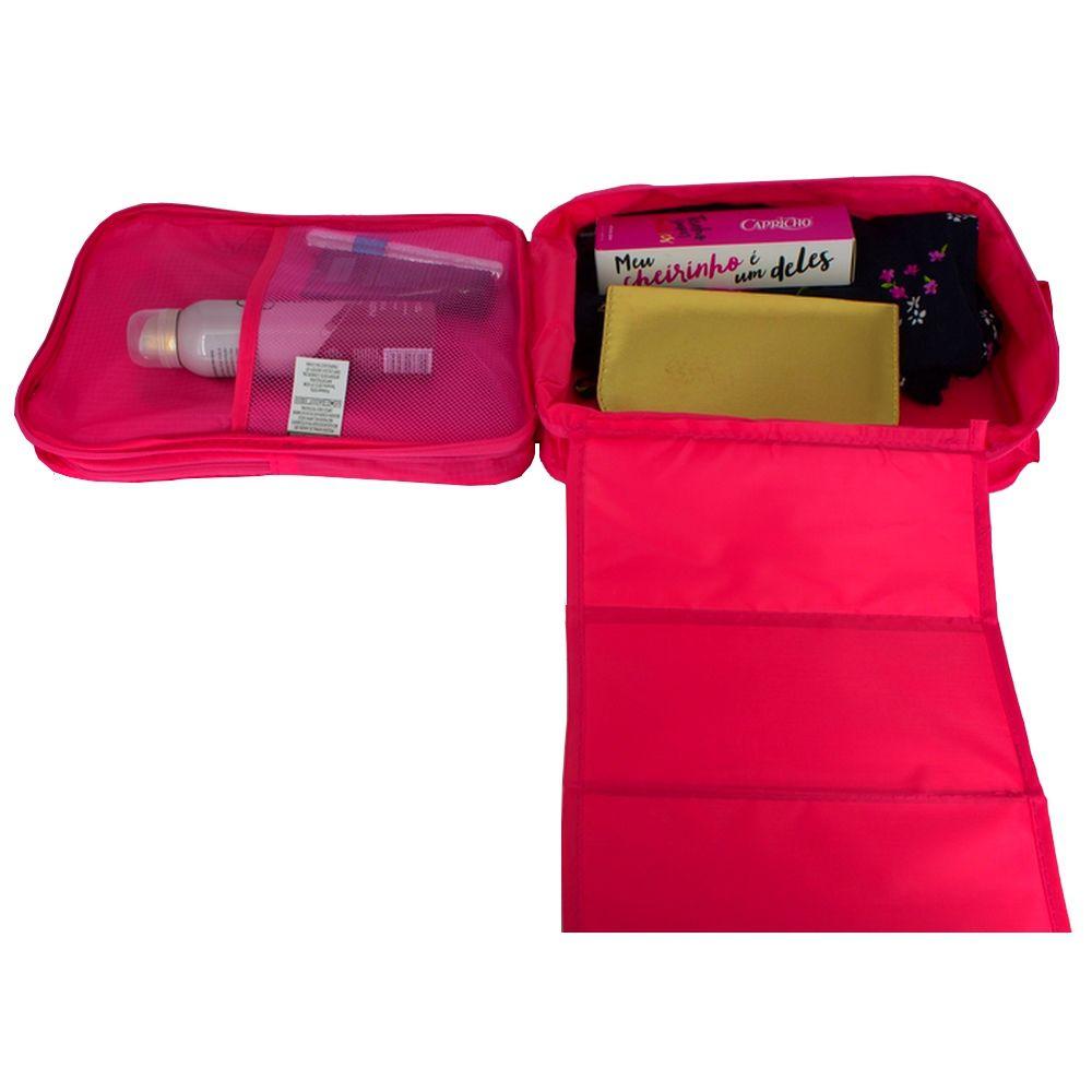 Necessaire Portátil para Viagem 03 Divisórias - Rosa  - Shop Ud