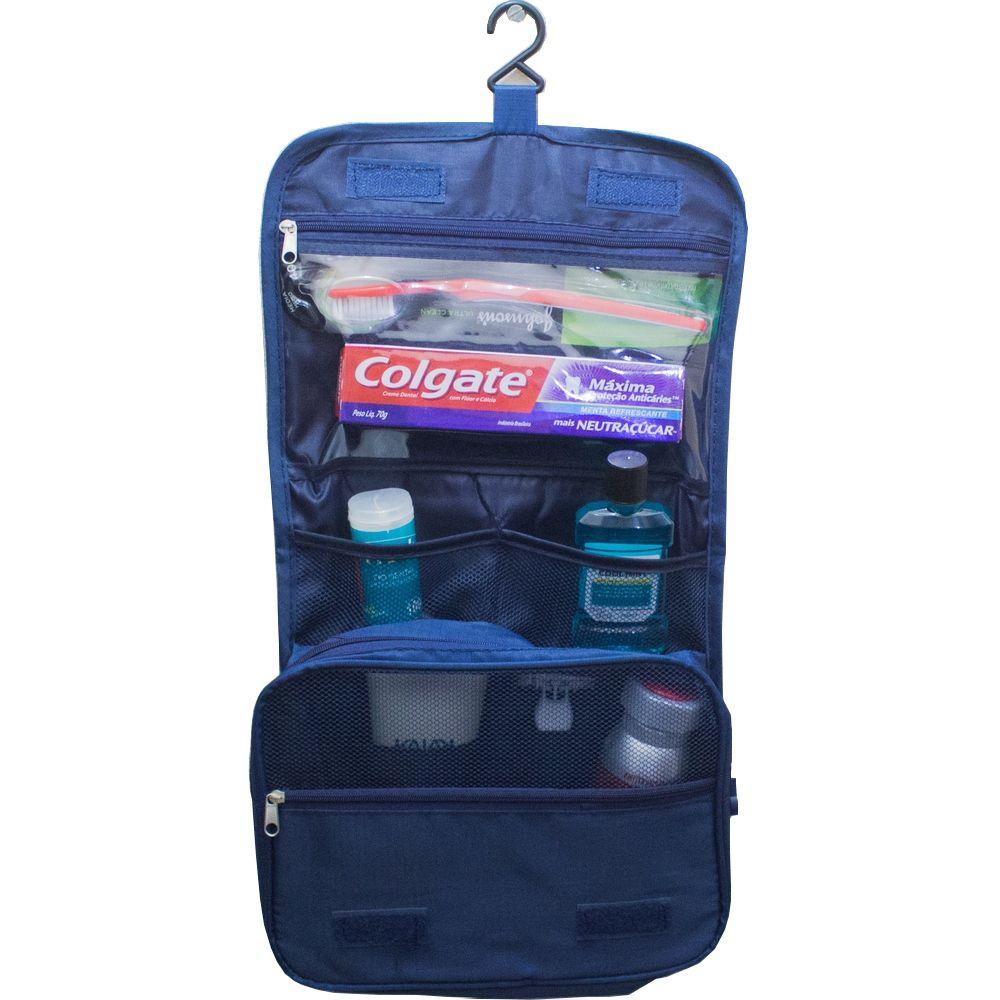 Necessaire Portátil Para Viagem com Divisórias e Gancho - Azul  - Shop Ud
