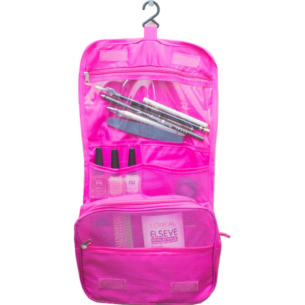 Necessaire Portátil Para Viagem com Divisórias e Gancho - Pink  - Shop Ud