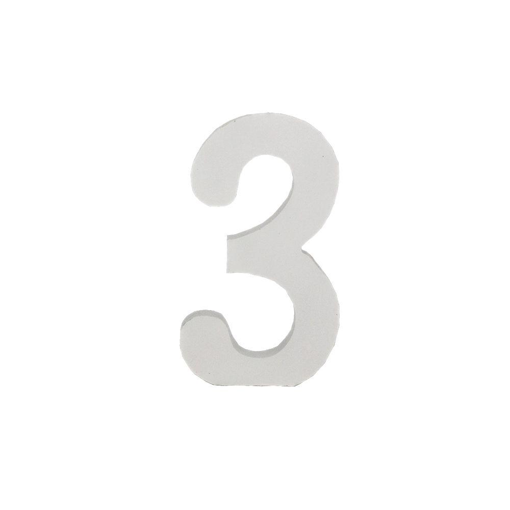 Número Decorativo em MDF – Número 3 (Branca)