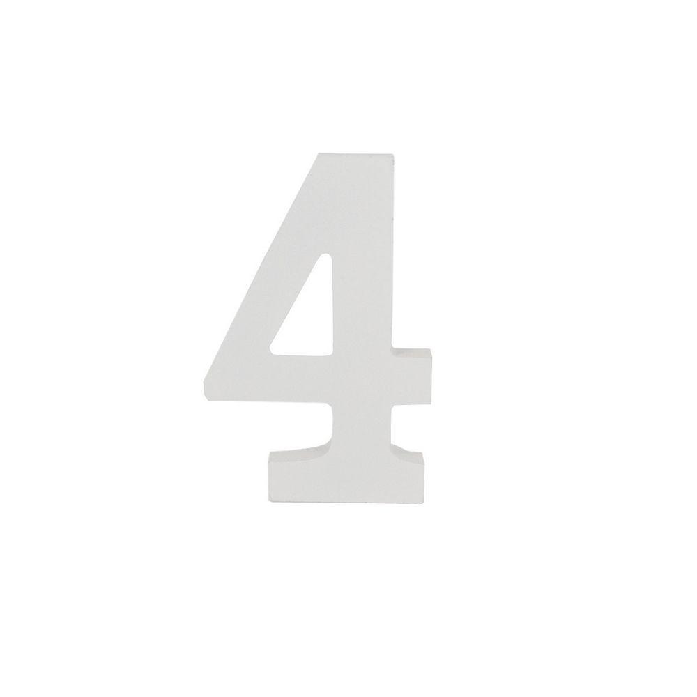 Número Decorativo em MDF – Número 4 (Branca)  - Shop Ud