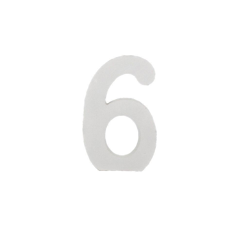 Número Decorativo em MDF – Número 6 (Branca)