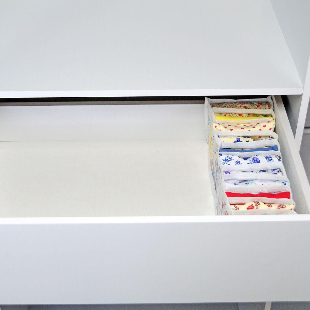 Organizador Calcinhas Meias Cuecas Viés Branco  - Shop Ud