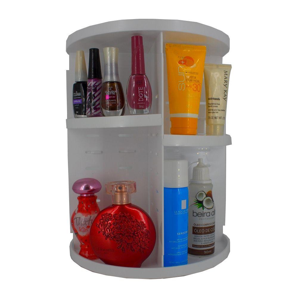 Organizador De Cosméticos E Maquiagem Giratório Display 360º - Branco  - Shop Ud
