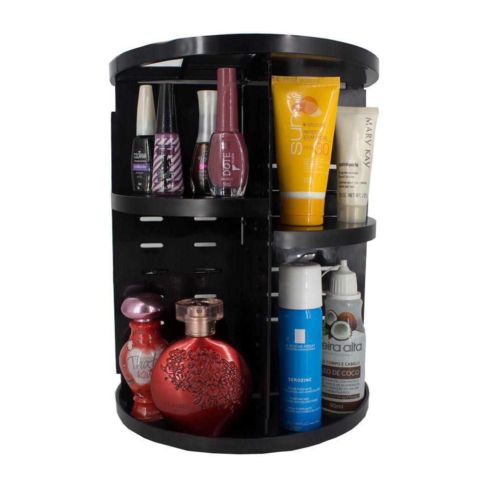 Organizador De Cosméticos E Maquiagem Giratório Display 360º - Preto