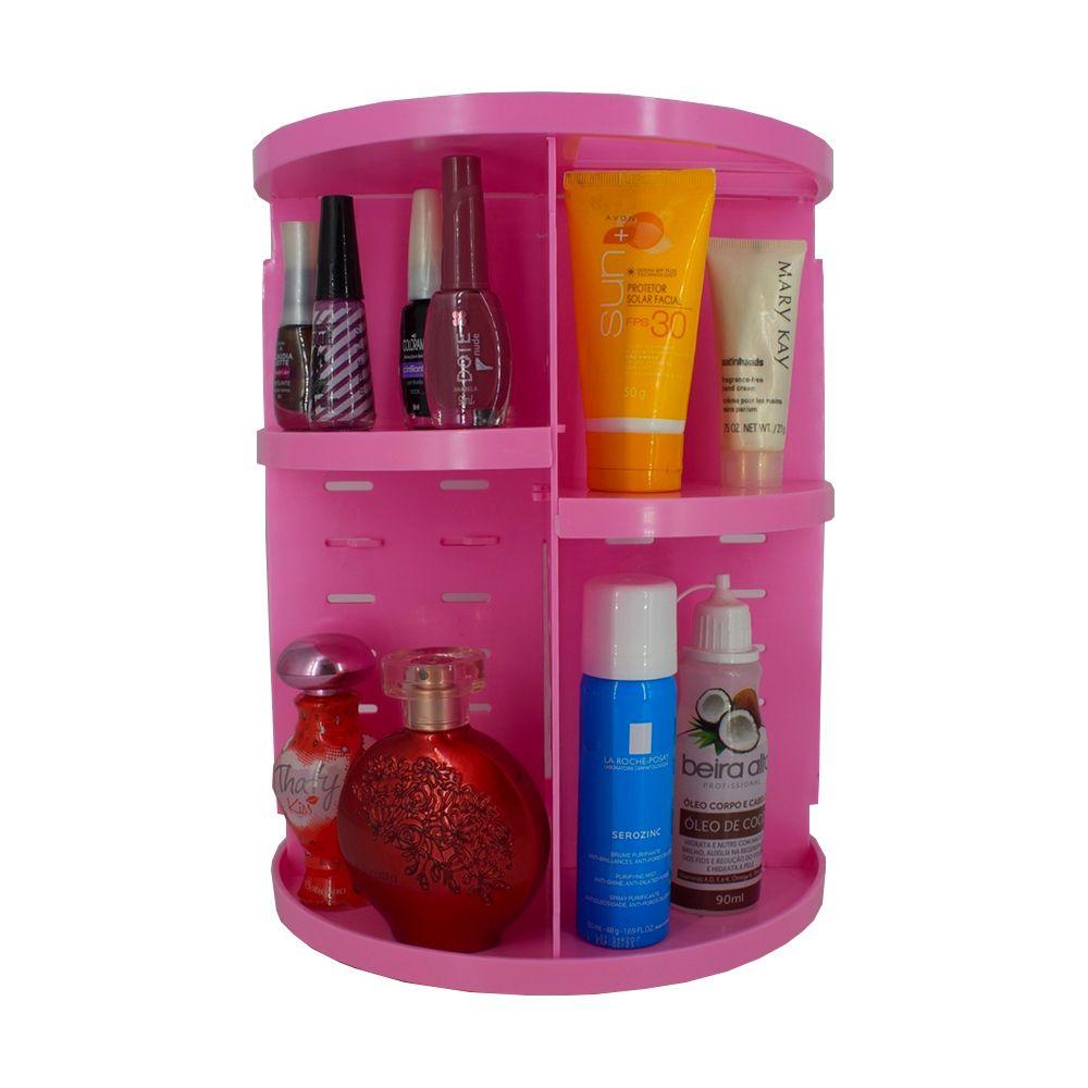 Organizador De Cosméticos E Maquiagem Giratório Display 360º - Rosa  - Shop Ud
