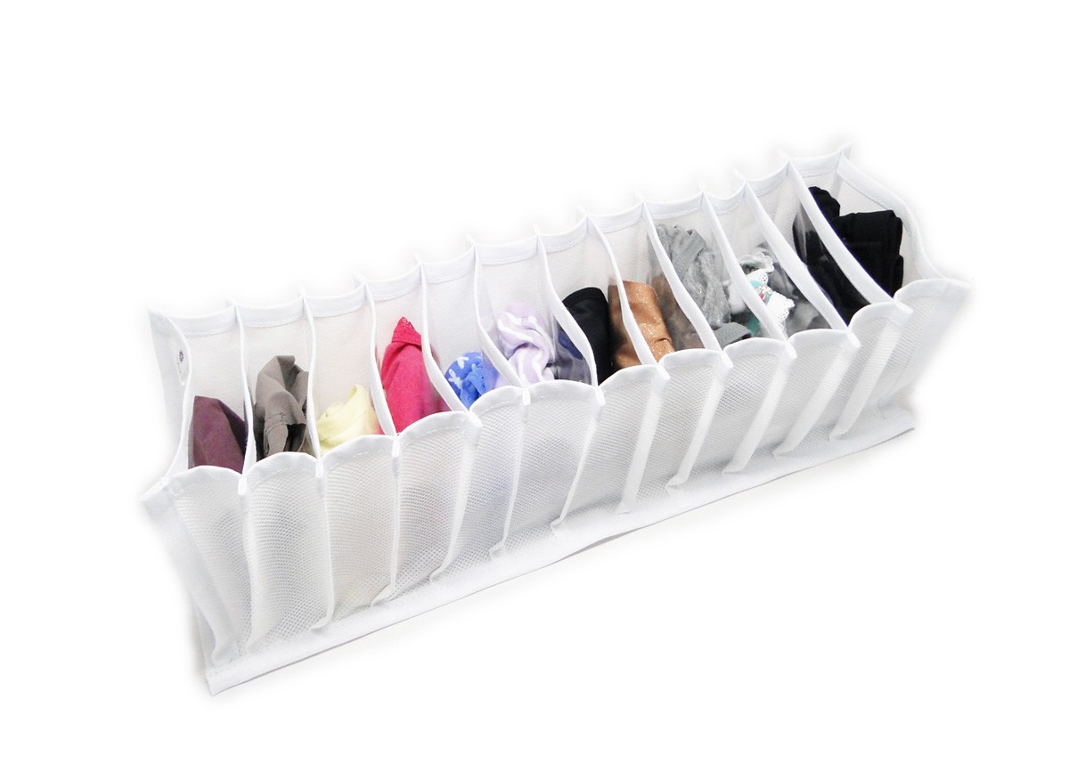 Organizador de Calcinhas, Meias e Cuecas TNT Branco - 11 nichos  - Shop Ud