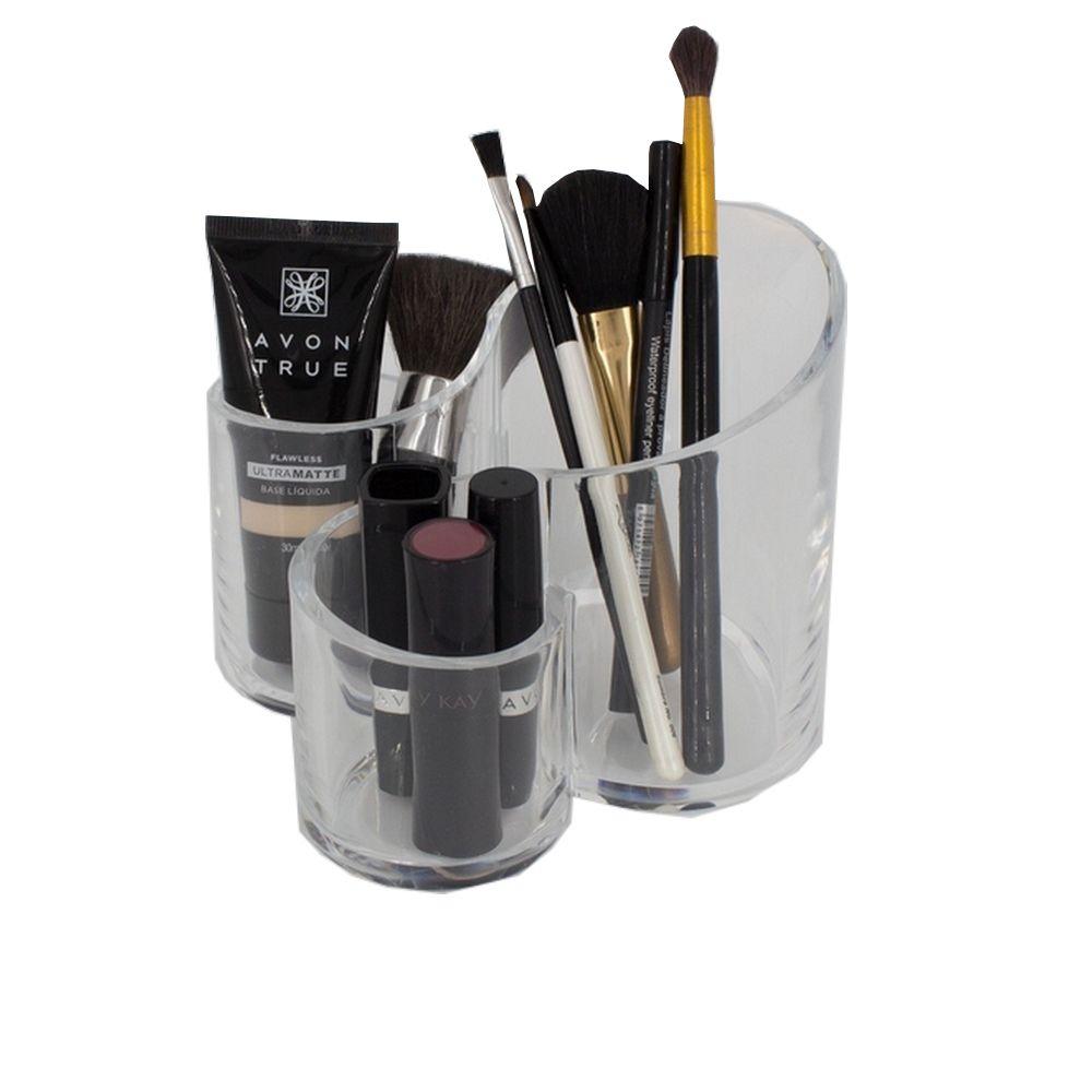 Organizador de Maquiagem em Acrílico com 03 Nichos Redondo  - Shop Ud