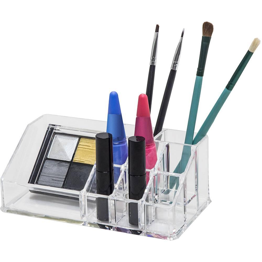 Organizador De Maquiagem Em Acrílico com 9 nichos Transparente