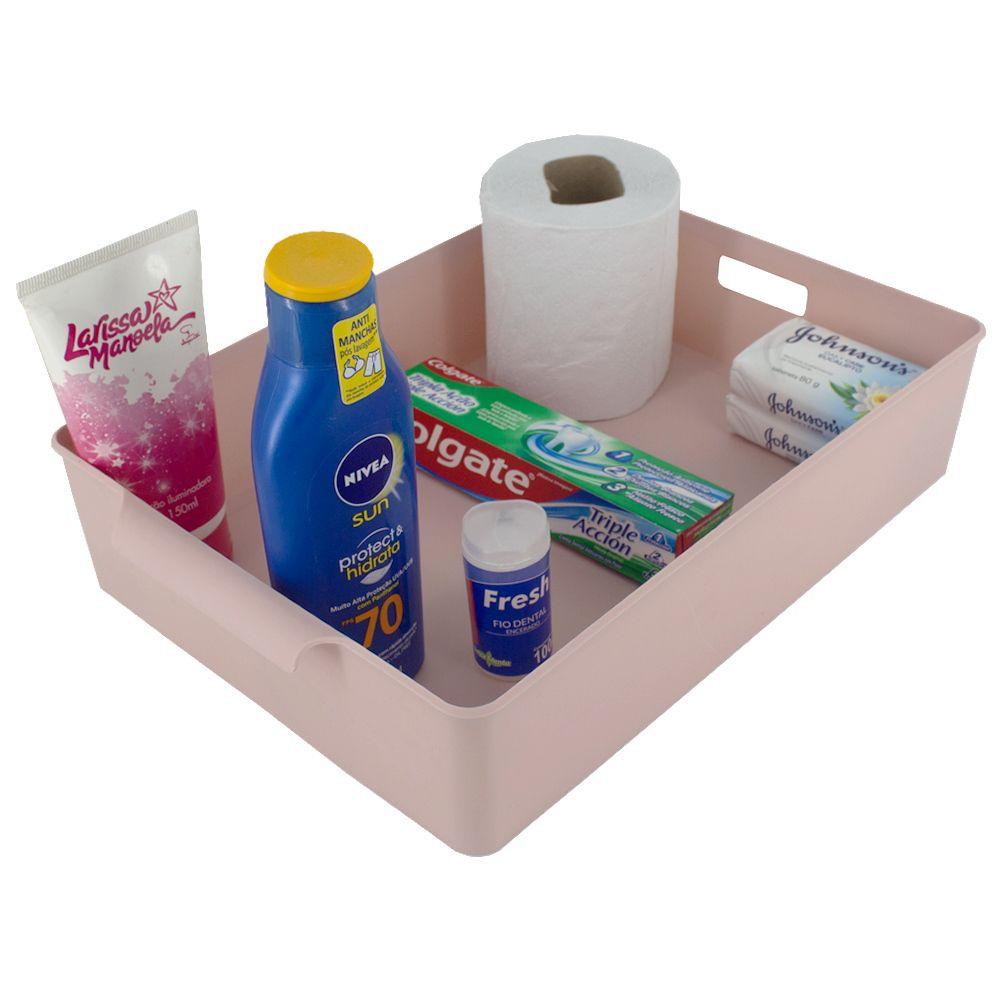 Organizador de Plástico Multiuso - 34x23,5x 7,2 Rosa Nude  - Shop Ud