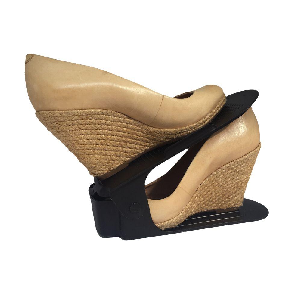 Organizador de Sapato Rack com 10 unidades Preto com Regulagem de Altura  - Shop Ud