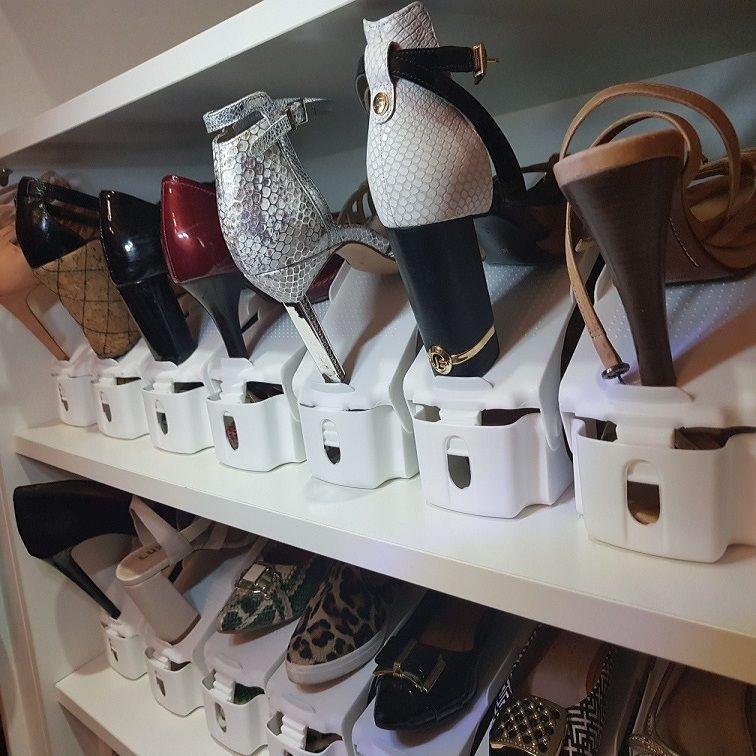 Organizador de Sapato Rack com 50 unidades Branco com Regulagem de Altura  - Shop Ud