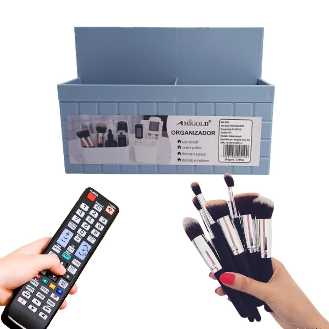 Organizador Multiuso De Mesa 4 Divisórias Azul  - Shop Ud