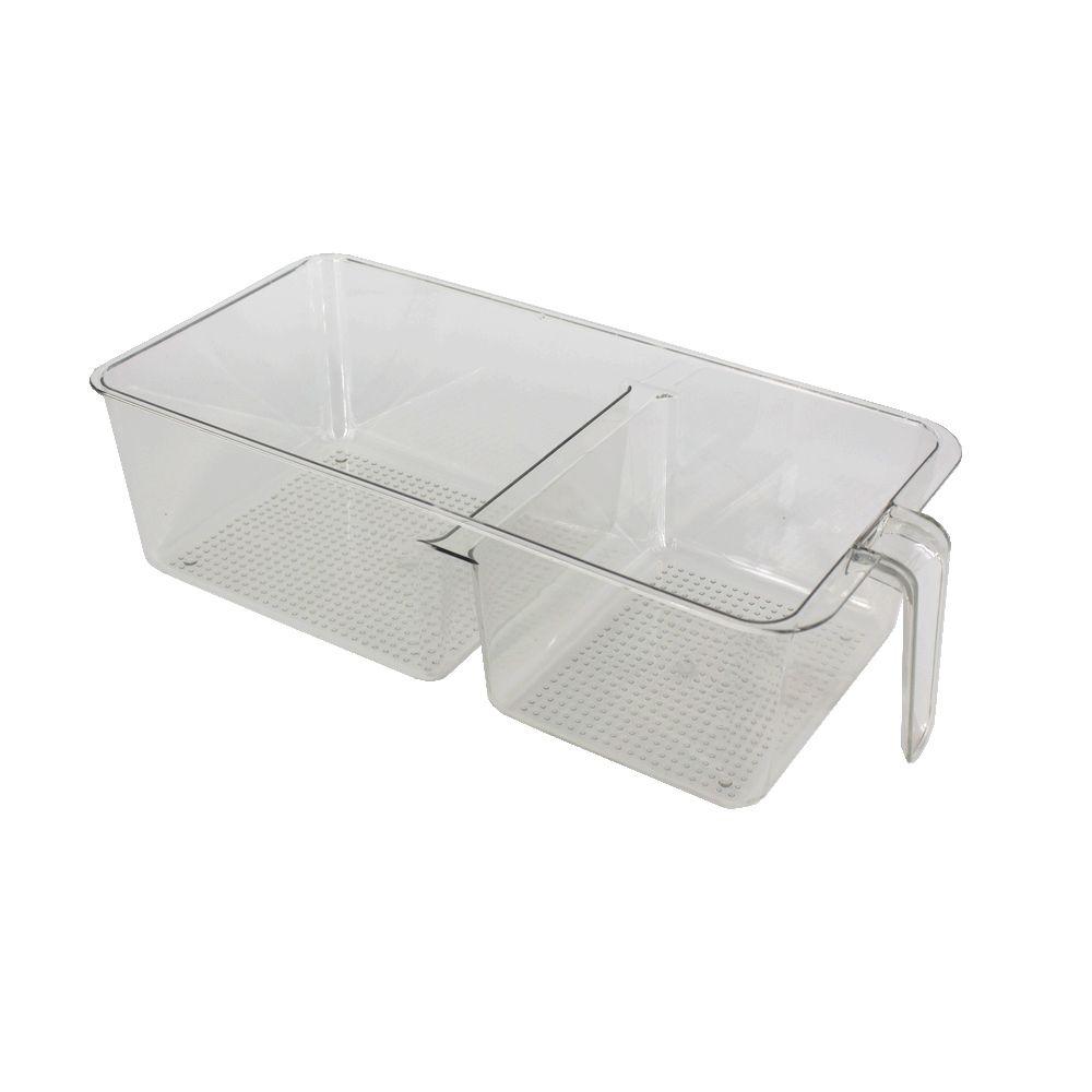 Organizador Plástico Multiuso Ideal Geladeira 2 Repartições