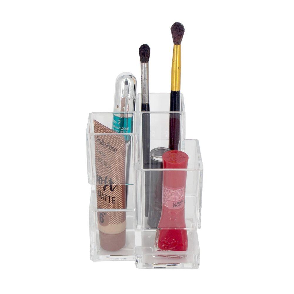Organizador Porta Maquiagem Cotonete Acrílico - 04 Divisões  - Shop Ud