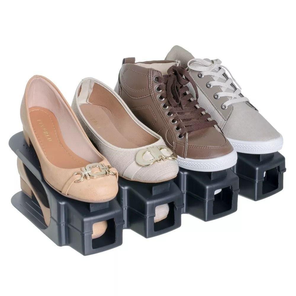 Organizador Rack Sapato 4 unidades Preto  - Shop Ud