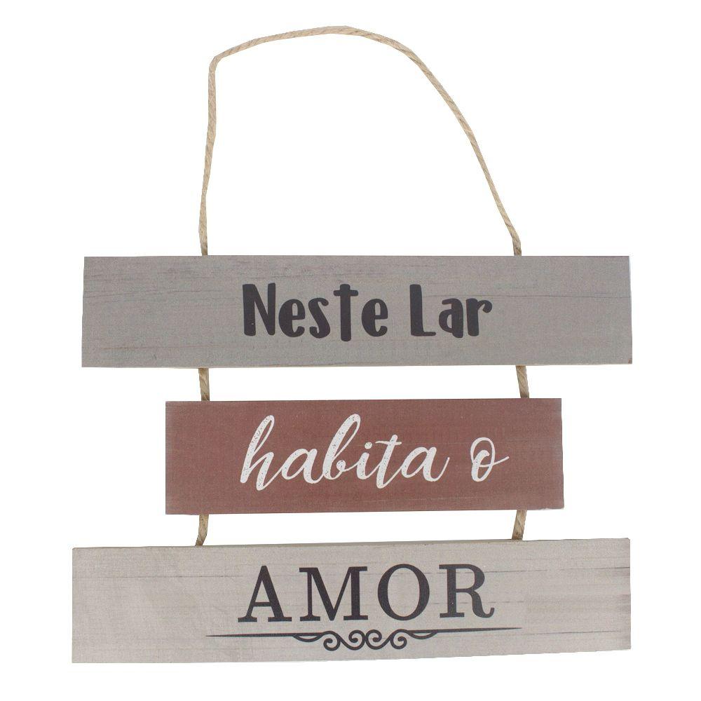 Placa Decorativa em Madeira Neste Lar Habita o Amor 16,5x24  - Shop Ud