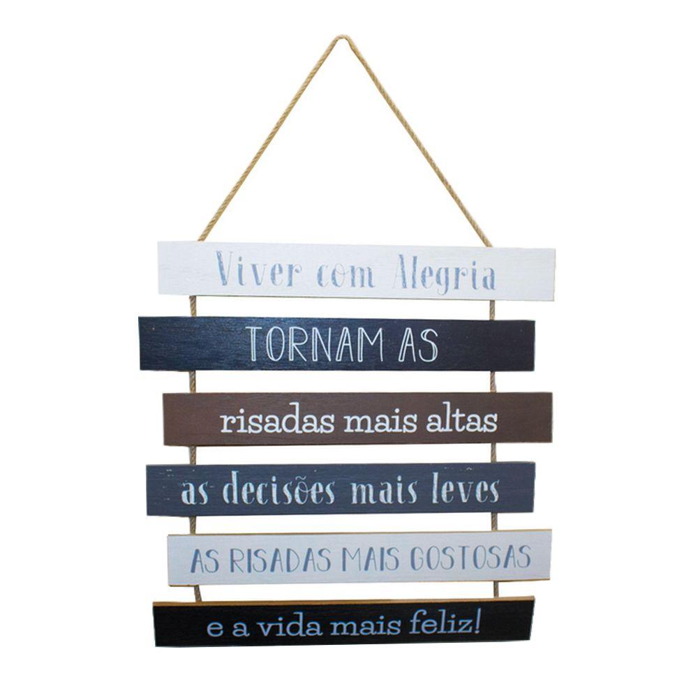 Placa Decorativa em Madeira – Viver com Alegria