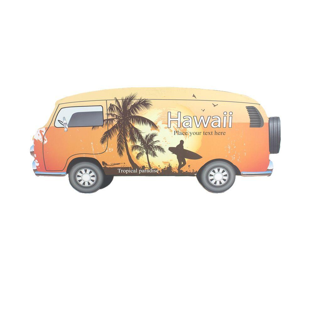 Placa Decorativa MDF Pendurar Kombi - Hawaii (Laranja)  - Shop Ud