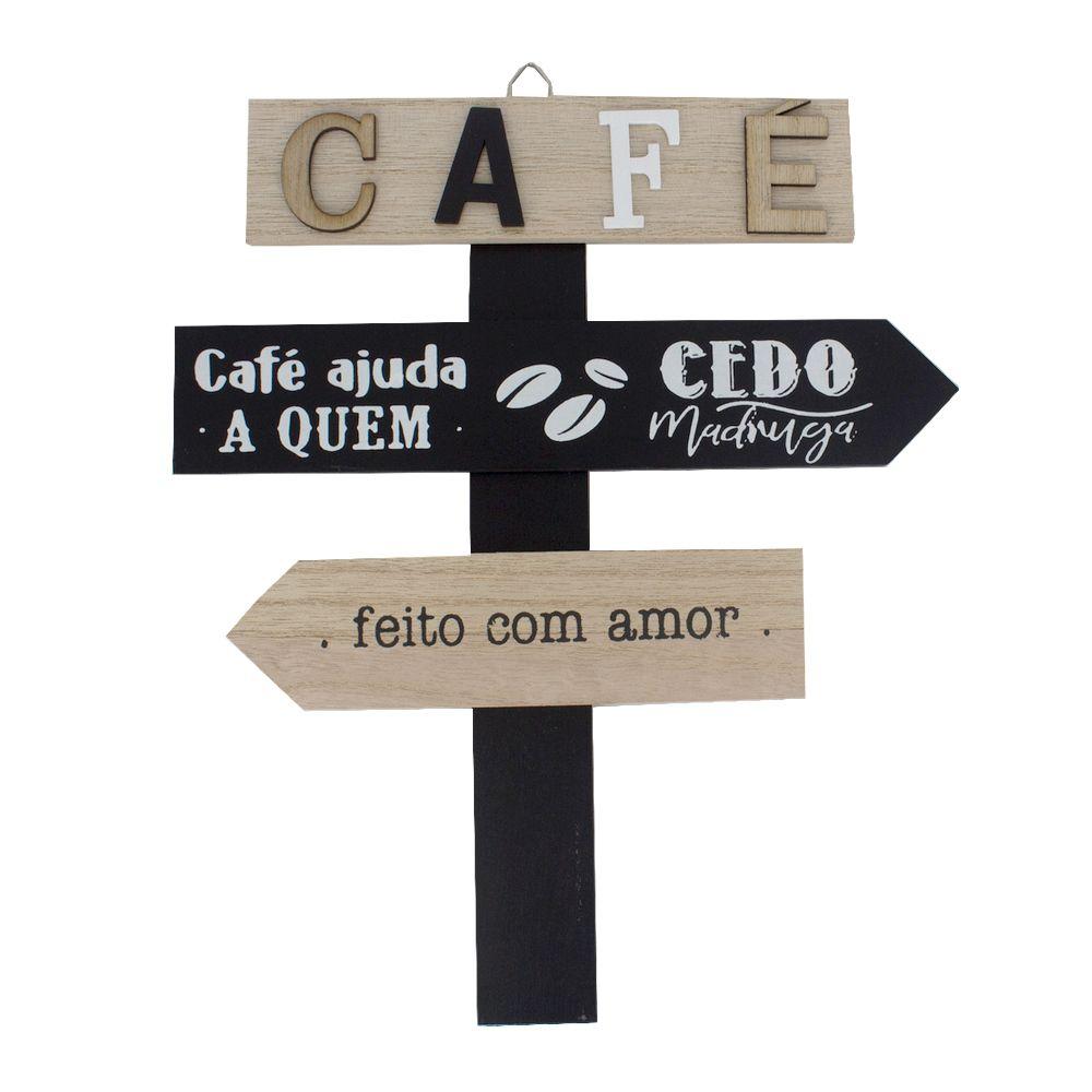 Placa Madeira Café ajuda quem cedo madruga - 25,5cm x 30cm  - Shop Ud