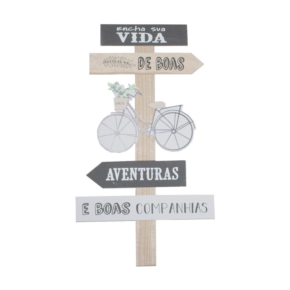 Placa Madeira Encha a vida de boas aventuras Bicicleta 55x31  - Shop Ud