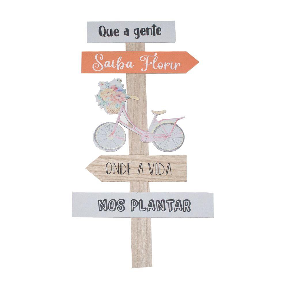 Placa Madeira Que a gente saiba florir onde a vida nos plantar  - Shop Ud