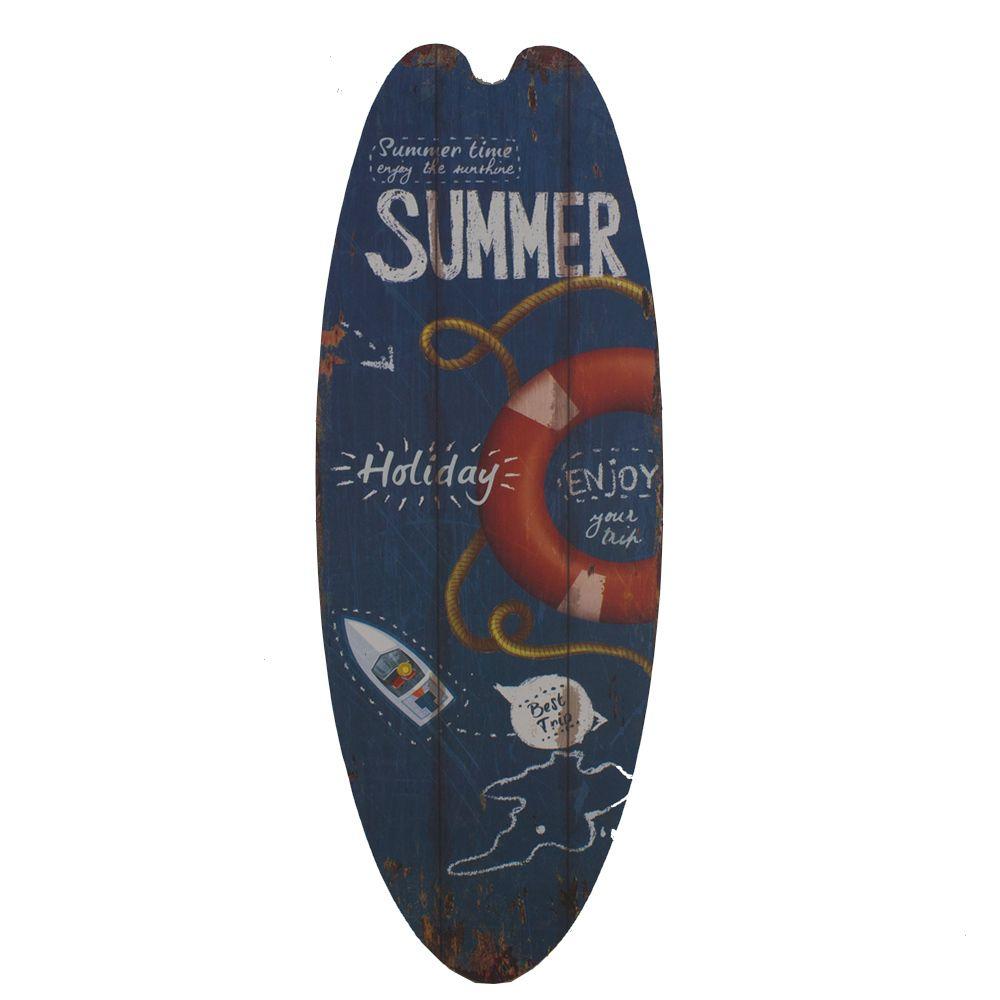 Placa Prancha Surf MDF- Summer Holiday Azul Vermelho  - Shop Ud
