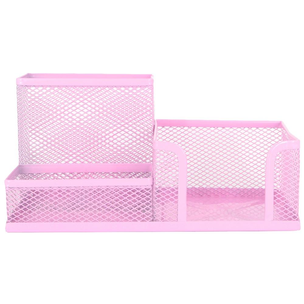 Porta Caneta Lápis para Escritório em Metal - 03 Nichos - Pink  - Shop Ud