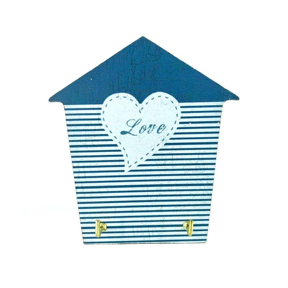 Mini Porta Chaves com 02 Ganchos – Love Azul