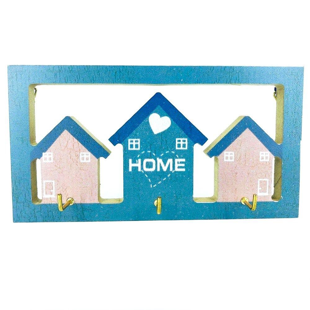 Porta Chaves com 03 Ganchos – Home Azul