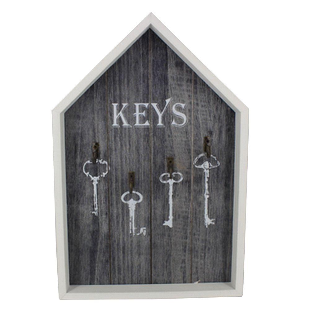 Porta Chaves com 04 Ganchos MDF - Cinza (casa)  - Shop Ud