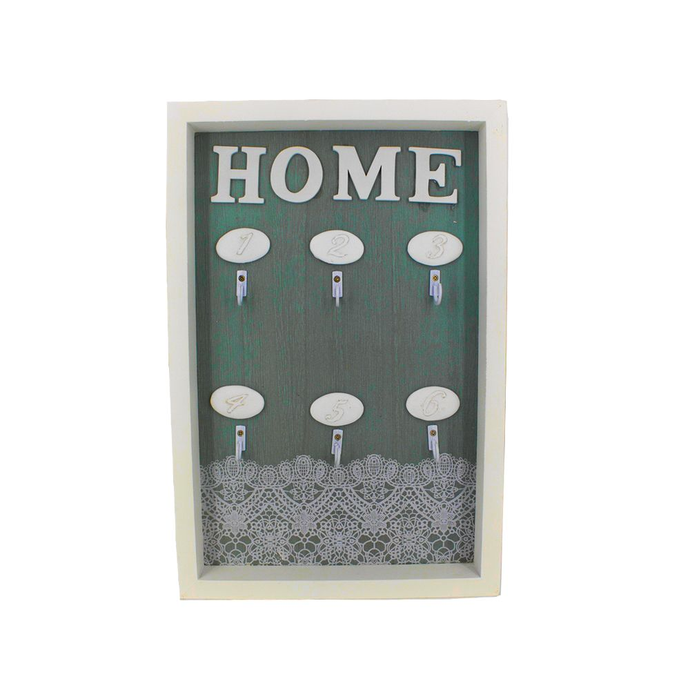 Porta Chaves HOME com 06 Ganchos – Renda Verde  - Shop Ud