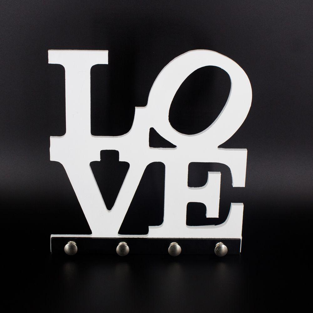 Porta Chaves Love  Branco