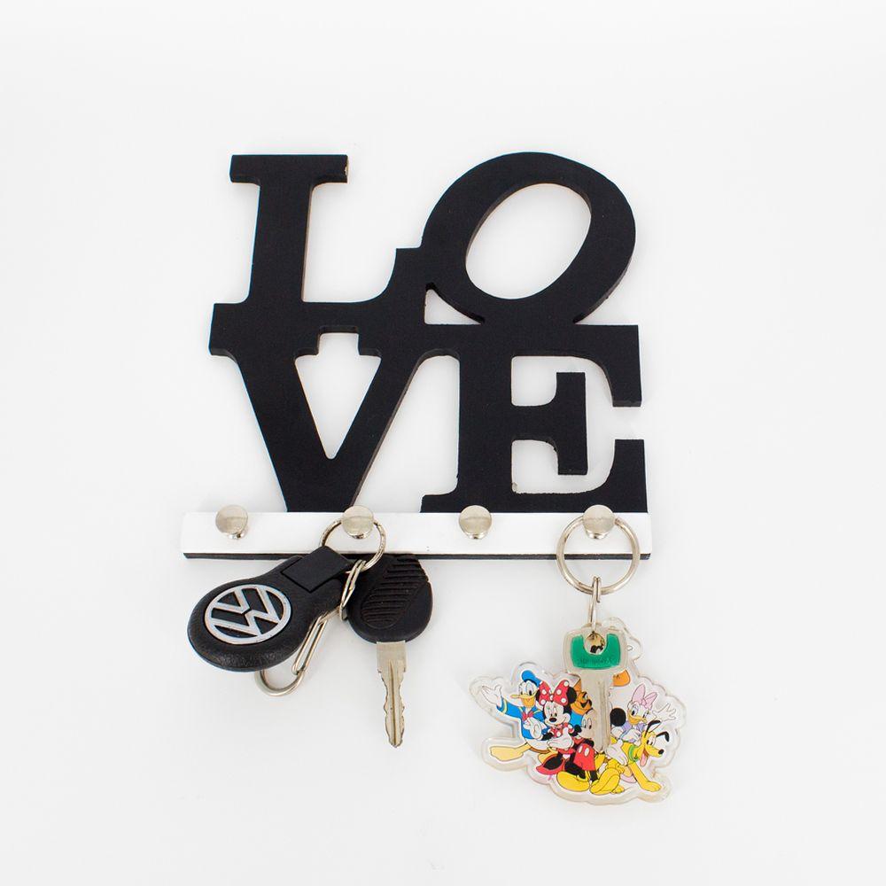Porta Chaves Love  Preto  - Shop Ud