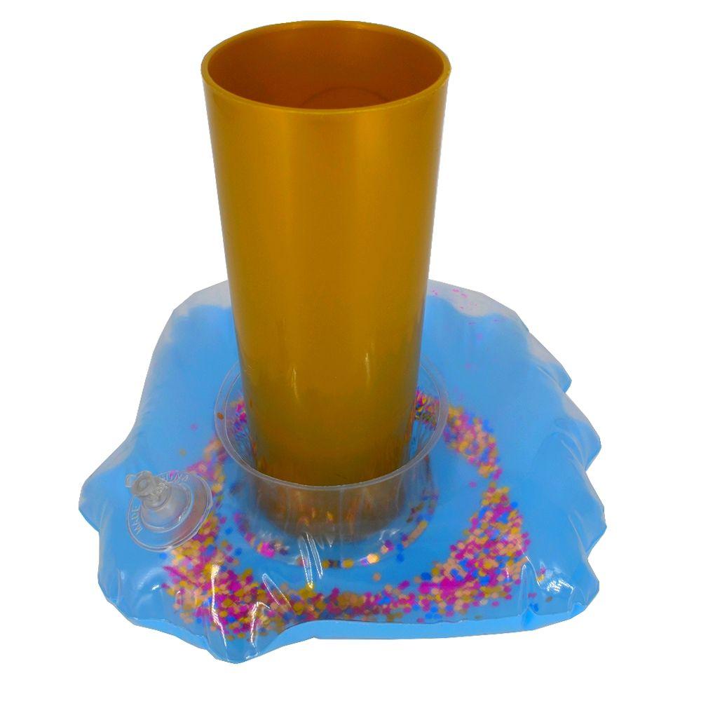 Porta Copo Boia Inflável - Concha Glitter Azul  - Shop Ud