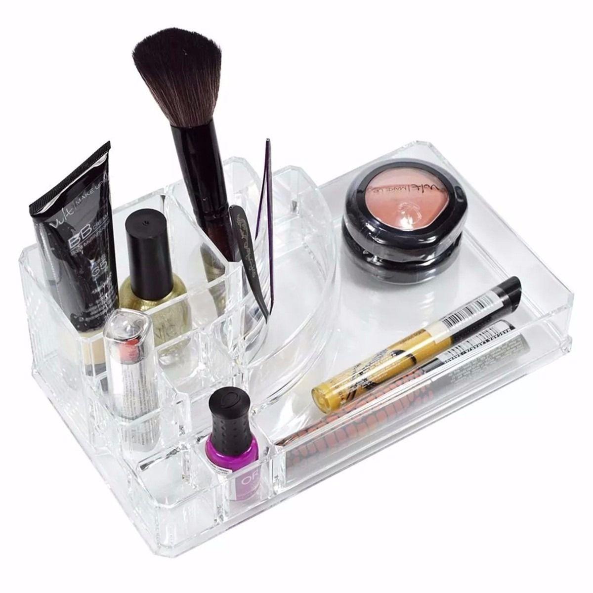 Porta Maquiagem Batom em Acrilico Retangular com 8 Divisórias