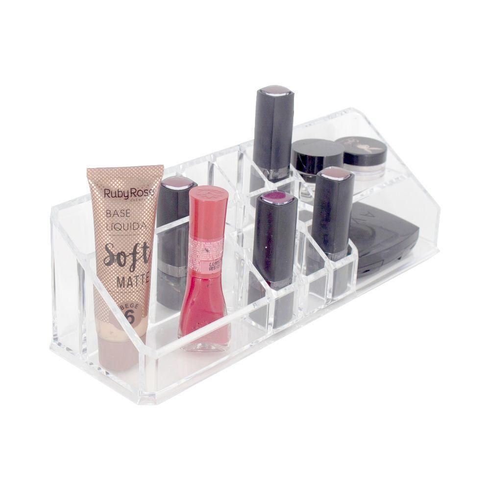 Porta Maquiagem Organizador Acrílico Batons Makes 14 nichos