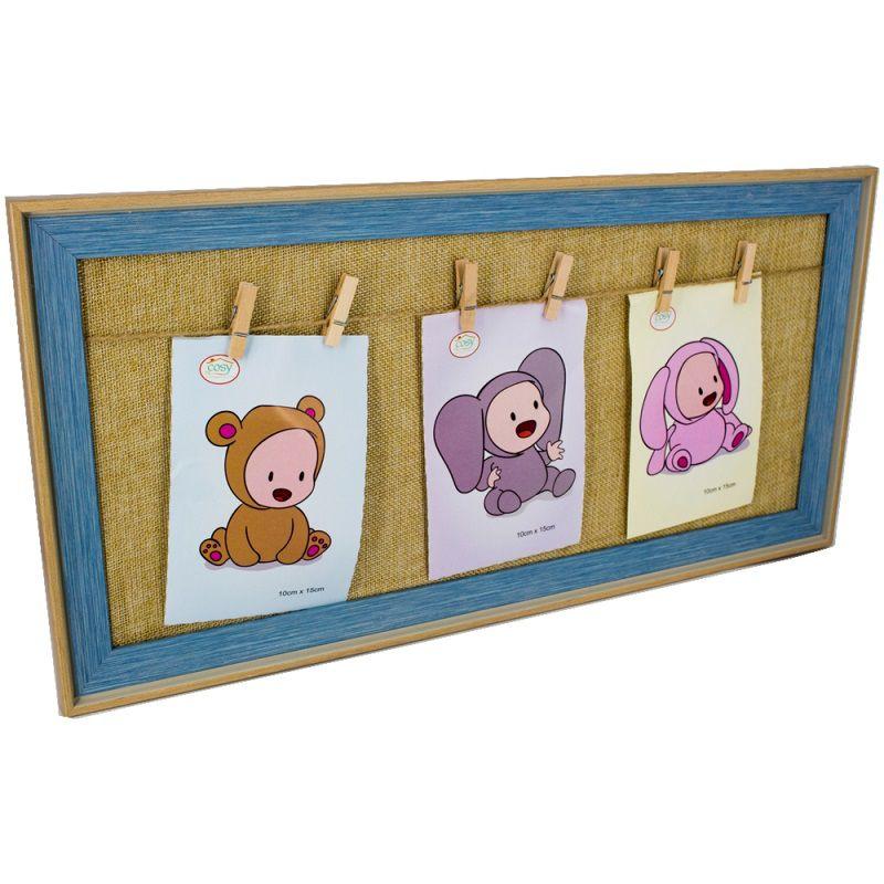 Porta Retrato Bebê Azul com Prendedor