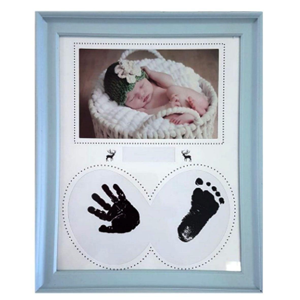 Porta Retrato Bebê Carimbo  Azul