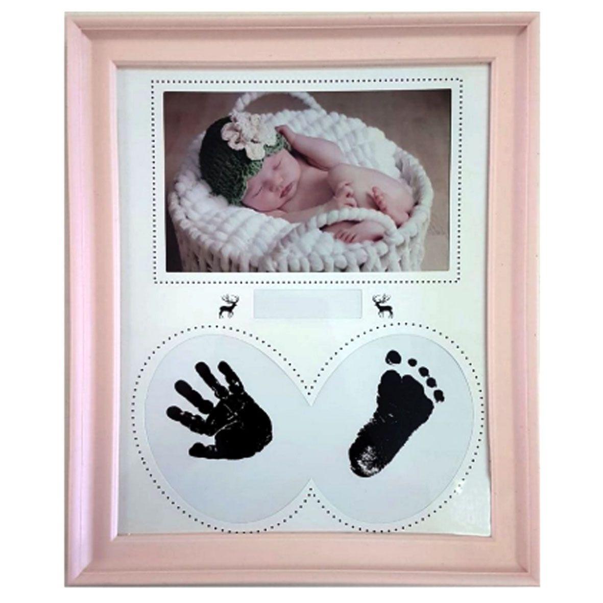 Porta Retrato Bebê  carimbo - Rosa