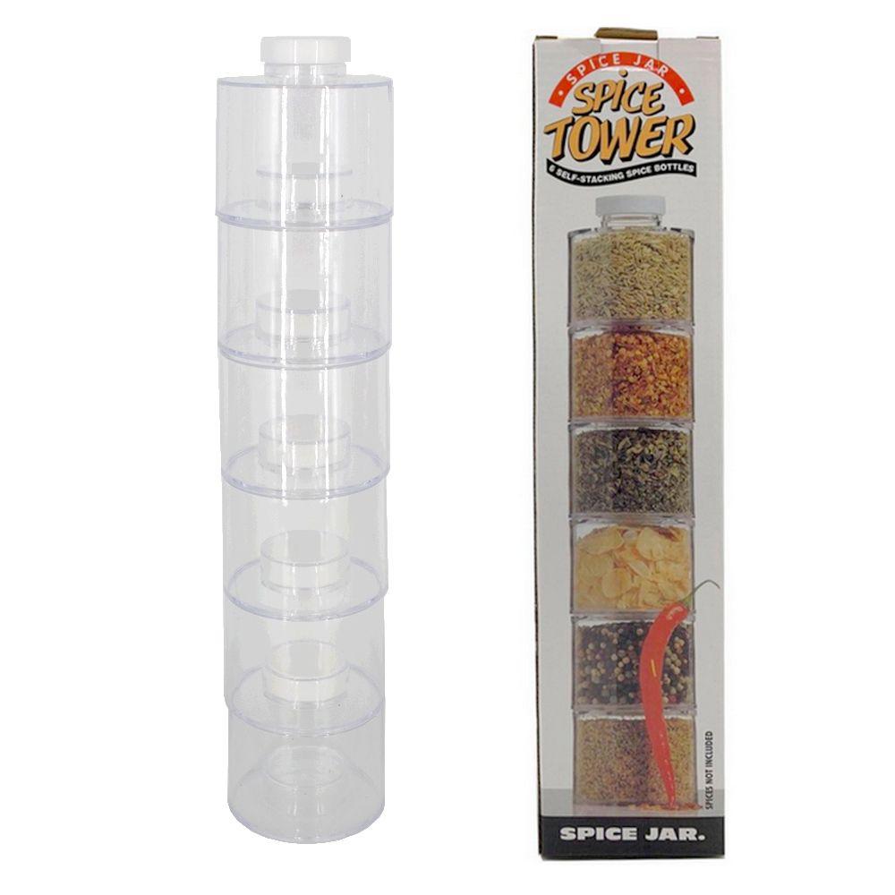 Porta Tempero Empilhável 6 Potes Empilhável Torre Spice  - Shop Ud