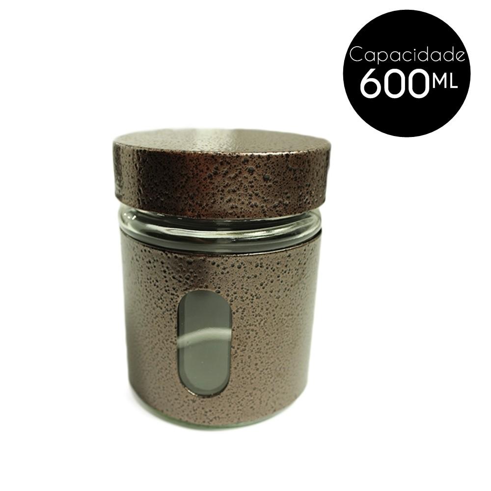 Pote de Vidro Revestido Inox 600Ml Cobre  - Shop Ud