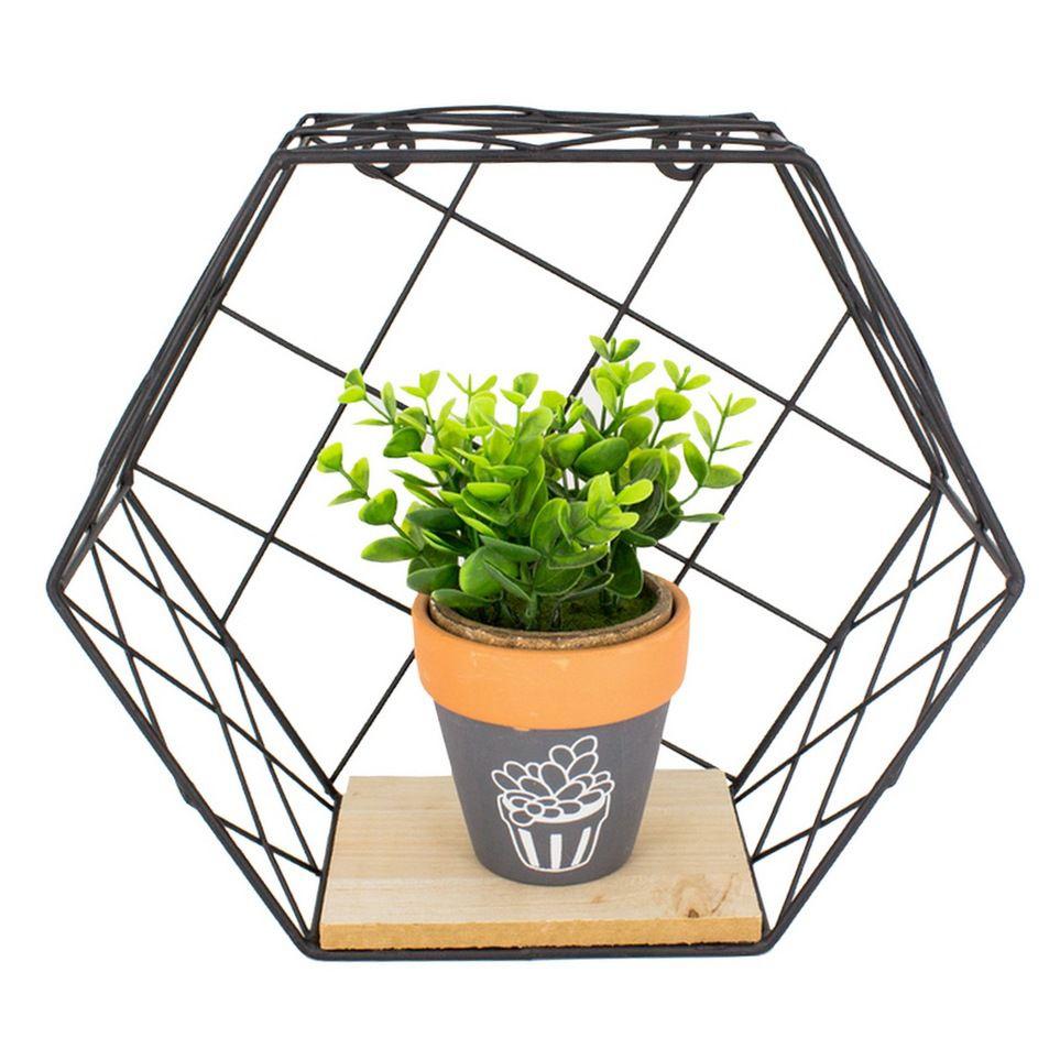 Prateleira Hexagonal 22x20 cm - Preta