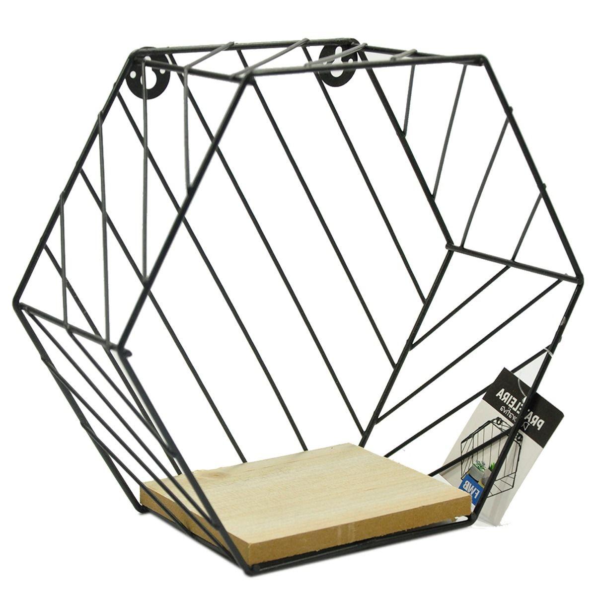 Prateleira Hexagonal 24x21x10cm Preta em Metal e Madeira  - Shop Ud
