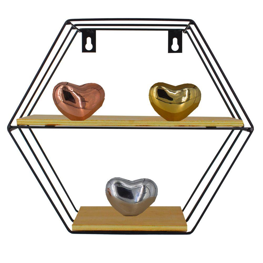 Prateleira Hexagonal com 02 Divisórias Ferro e MDF- Preta  - Shop Ud