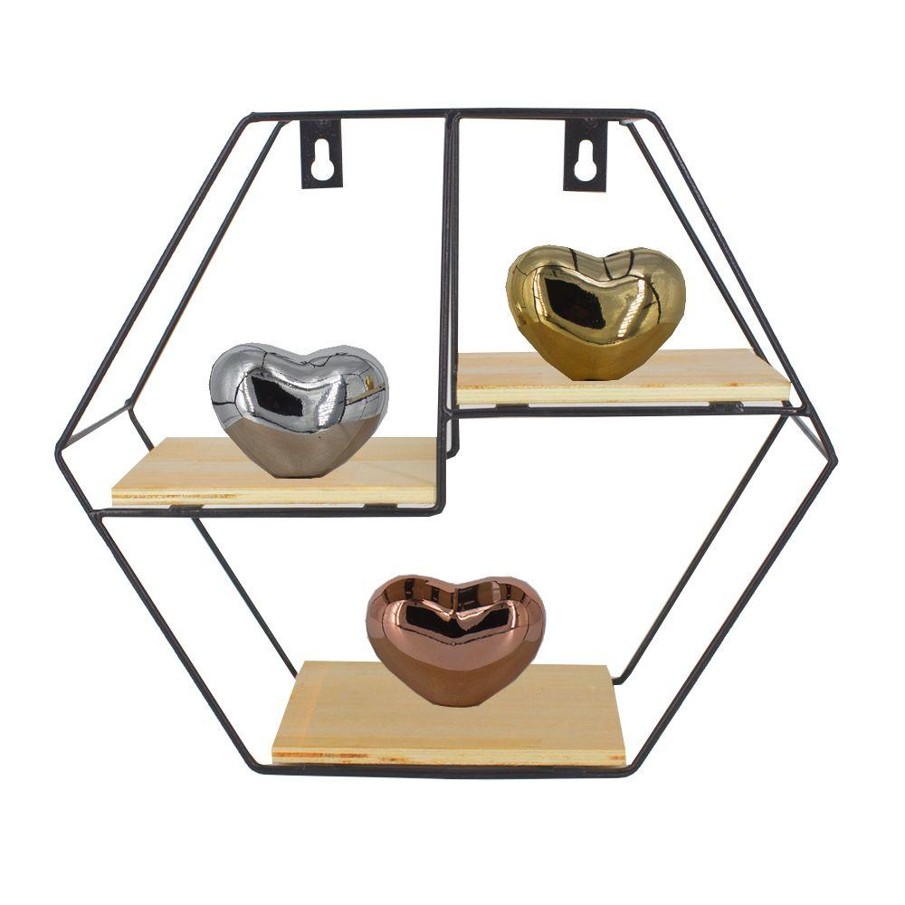 Prateleira Hexagonal com 03 Divisórias Madeira e Ferro Preta  - Shop Ud