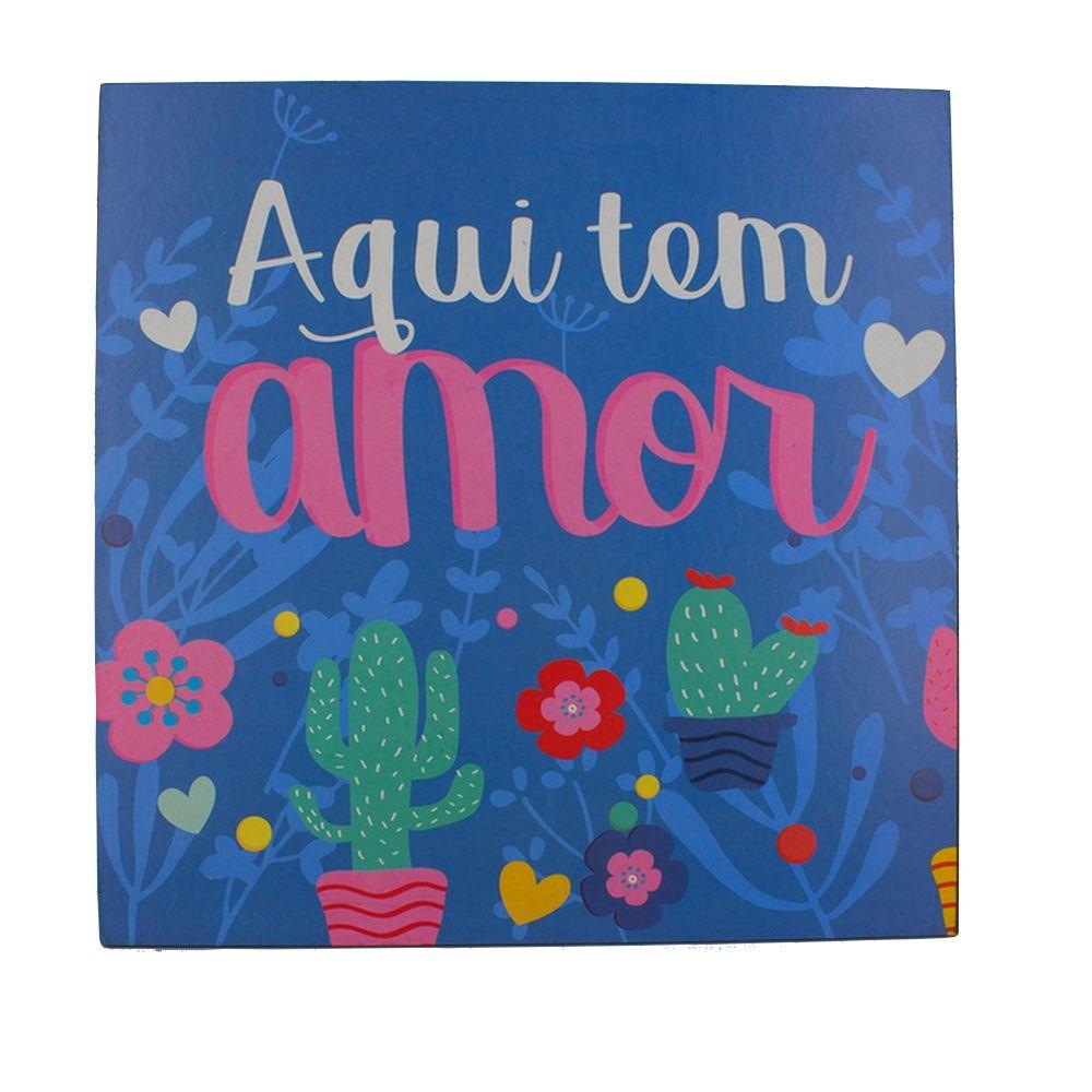 Quadro Decorativo – Aqui Tem Amor - Cactos (Azul) MDF  - Shop Ud