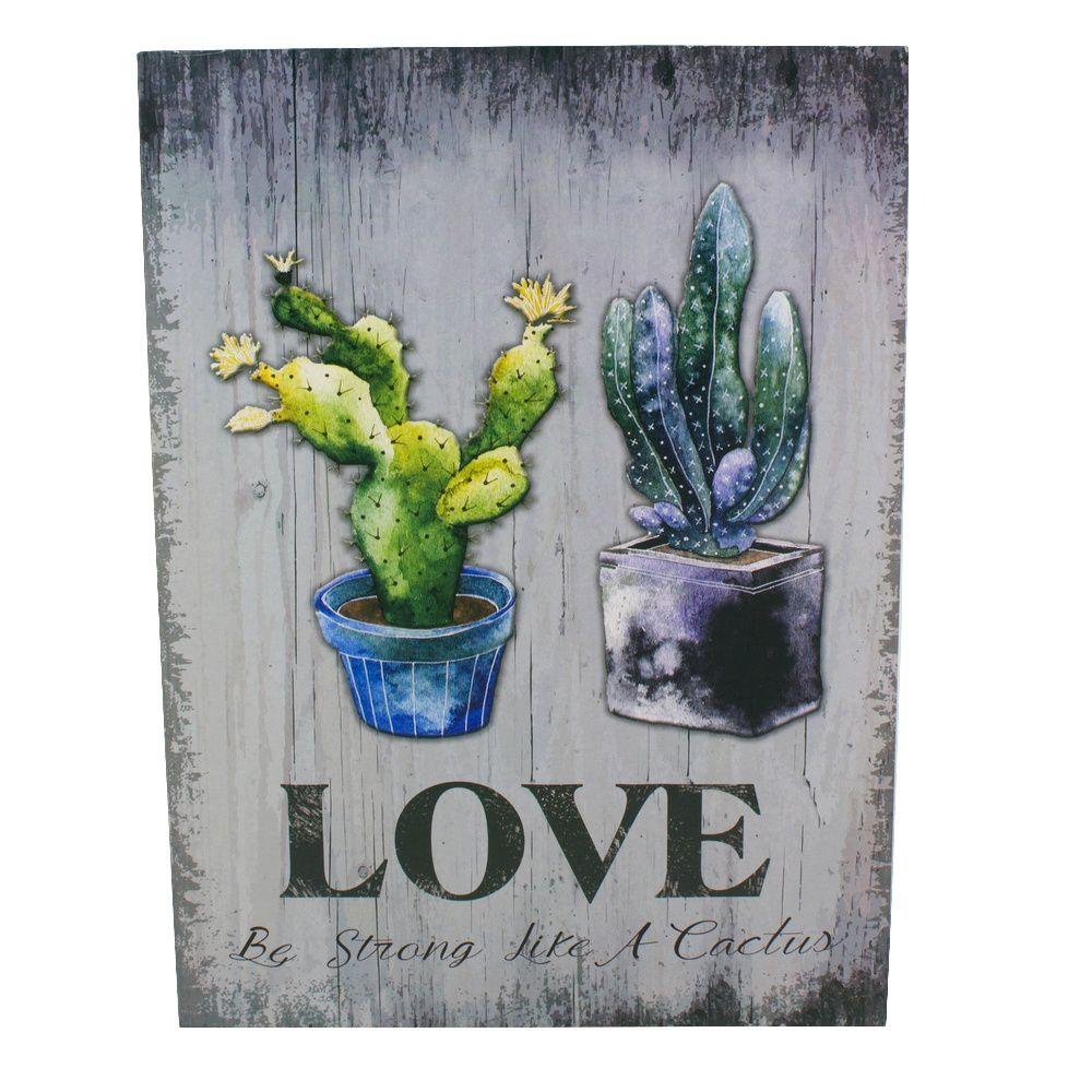 Quadro Decorativo – Cacto LOVE (MDF)