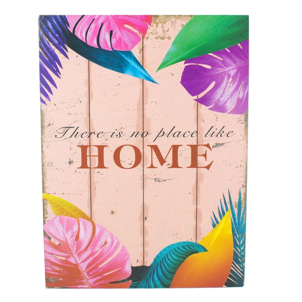 Quadro Decorativo – HOME (Folhas Coloridas) MDF  - Shop Ud